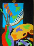 Piano Painting Originals - Vinny and The Van Goes Four by Pamela Allegretto
