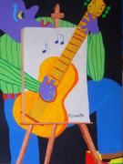 Blues Guitar Paintings - Vinny and The Van Goes One by Pamela Allegretto