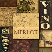 Winery Painting Posters - Vino Collage Poster by Grace Pullen
