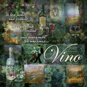 Wine Glasses Digital Art Posters - Vino Poster by Evie Cook