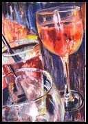 Cocktails Paintings - Vino  by Jami Childers
