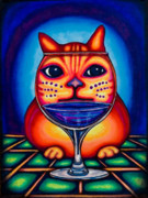 Wine Drawings - Vino Kats by Laurie Tietjen