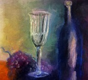 Glass Table Prints - Vino Print by Michelle Calkins