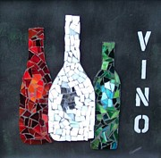 Vino Mixed Media Posters - Vino Poster by Nancy ELeGant