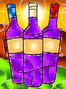 Red Wine Bottle Digital Art Posters - Vino Poster by Stephen Younts