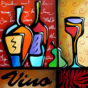 Wine Deco Art Framed Prints - Vino Framed Print by Tom Fedro - Fidostudio