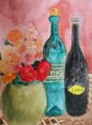 Vin Drawings Prints - Vino Y Flores Print by Mira Dimitrijevic