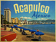 Umbrellas Digital Art Framed Prints - Vintage Acapulco Mexico Framed Print by Vintage Poster Designs