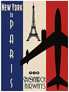 Travel Digital Art Posters - Vintage Air Travel Paris Poster by Cinema Photography