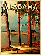 Alabama Posters - Vintage Alabama Orange Beach Poster by Vintage Poster Designs