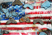 Stars And Stripes Digital Art - Vintage American Metal by AdSpice Studios