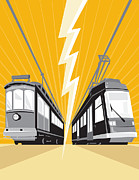 Electric Vehicle Posters - Vintage and Modern Streetcar Tram Train Poster by Aloysius Patrimonio