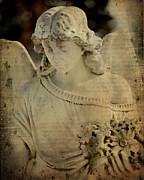"\""stone Art\\\"" Digital Art - Vintage Angel Collage by Gothicolors With Crows"