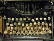 Typewriter Keys Photo Posters - Vintage Antique Typewriter - Text Me Poster by Kathy Fornal