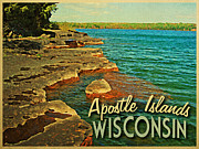 Lakeshore Digital Art - Vintage Apostle Islands Wisconsin by Vintage Poster Designs