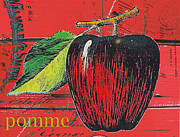 French Country Mixed Media Posters - Vintage Apple on Red Barn Wood Poster by Anahi DeCanio