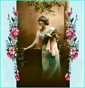 Vintage Aqua Print by Mary Morawska
