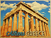 Athens Ruins Framed Prints - Vintage Athens Greece Parthenon Framed Print by Vintage Poster Designs