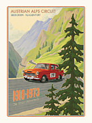 Mountains Digital Art Metal Prints - Vintage Austrian Rally Poster Metal Print by Mitch Frey