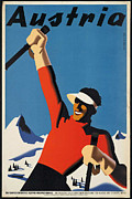Skiing Poster Framed Prints - Vintage Austrian Skiing Travel Poster Framed Print by George Pedro