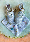 Embroidered Prints - Vintage Baby Shoes and Diaper Pin on Handkercheif Print by Jill Battaglia