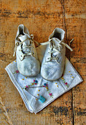 Embroidered Prints - Vintage Baby Shoes on Wood Print by Jill Battaglia