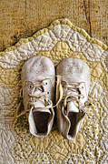 Quilt Posters - Vintage Baby Shoes on Yellow Quilt Poster by Jill Battaglia