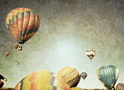 Girl Room Posters - Vintage Balloon Flight Poster by Andrea Hazel Ihlefeld