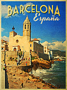 Barcelona Digital Art Framed Prints - Vintage Barcelona Espana Framed Print by Vintage Poster Designs