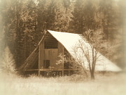Farming Barns Prints - Vintage Barn Sepia Print by Cindy Wright