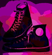 Converse Digital Art - Vintage Basketball Shoes by George Pedro