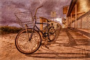 Beach Cruiser Posters - Vintage Beach Bike Poster by Debra and Dave Vanderlaan