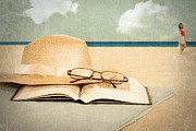 Beach Towel Digital Art Posters - Vintage beach with book and hat Poster by Michael Gray