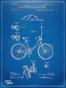 Nikki Marie Smith Framed Prints - Vintage Bicycle Parasol Patent Artwork 1896 Framed Print by Nikki Marie Smith