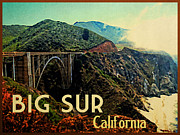 Bixby Bridge Metal Prints - Vintage Big Sur California Metal Print by Vintage Poster Designs