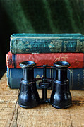 Binoculars Photos - Vintage Binoculars and Books by Jill Battaglia