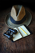 Old Objects Prints - Vintage Binoculars Fedora and Notebook Print by Jill Battaglia