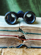 Binoculars Photos - Vintage Binoculars on Stack of Open Books by Jill Battaglia