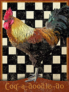 Tiles Digital Art Framed Prints - Vintage Bistro Rooster Framed Print by Vintage Poster Designs