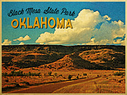 Oklahoma Digital Art Prints - Vintage Black Mesa Oklahoma Print by Vintage Poster Designs