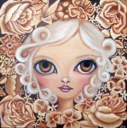 Pop Surrealism Painting Posters - Vintage Blooms Poster by Jaz Higgins