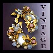 Vintage Jewelry Posters - Vintage Blue and Pink Earrings Poster by Jai Johnson