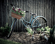 Flower Basket Posters - Vintage Blue Bicycle Poster by Perry Webster