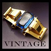 Vintage Jewelry Posters - Vintage Blue Coro Brooch Poster by Jai Johnson
