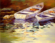 Waterscape Painting Prints - Vintage Boats Print by David Rickert