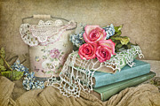 Doilies Prints - Vintage Books And Roses Print by Cheryl Davis