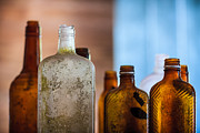 Color  Colorful Prints - Vintage Bottles Print by Adam Romanowicz