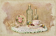 Crocheted Doily Posters - Vintage Bottles And Teacup Still-life Poster by Cheryl Davis