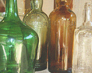 Glass Reflecting Prints - Vintage bottles Print by Georgia Fowler