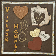 Home Decor Posters Mixed Media Posters - Vintage boutique hearts Poster by Alison Quine